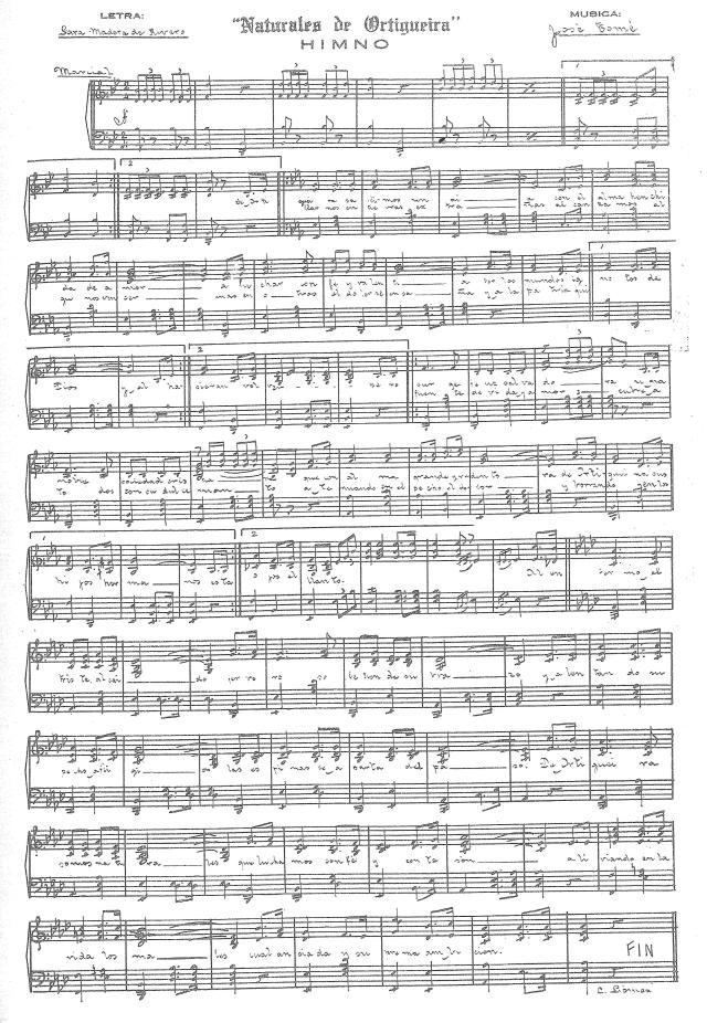 Partitura del Himno Naturales de Ortigueira