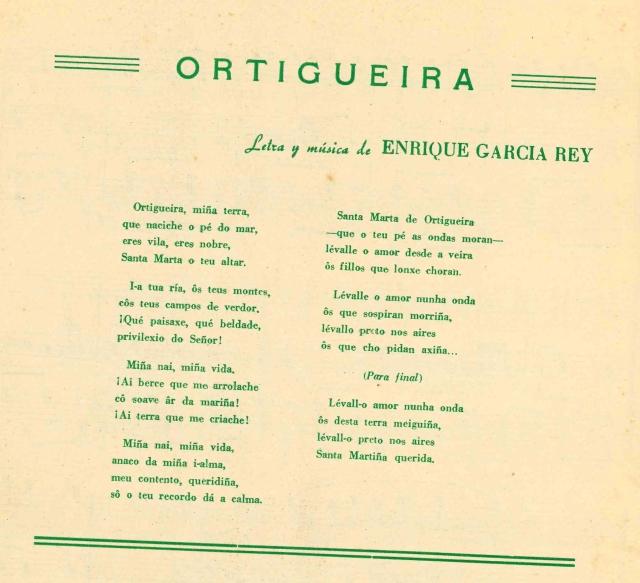 Letra pasodoble Ortigueira
