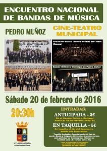 Cartel Encuentro Nacional de Bandas - 20 de febrero de    2016